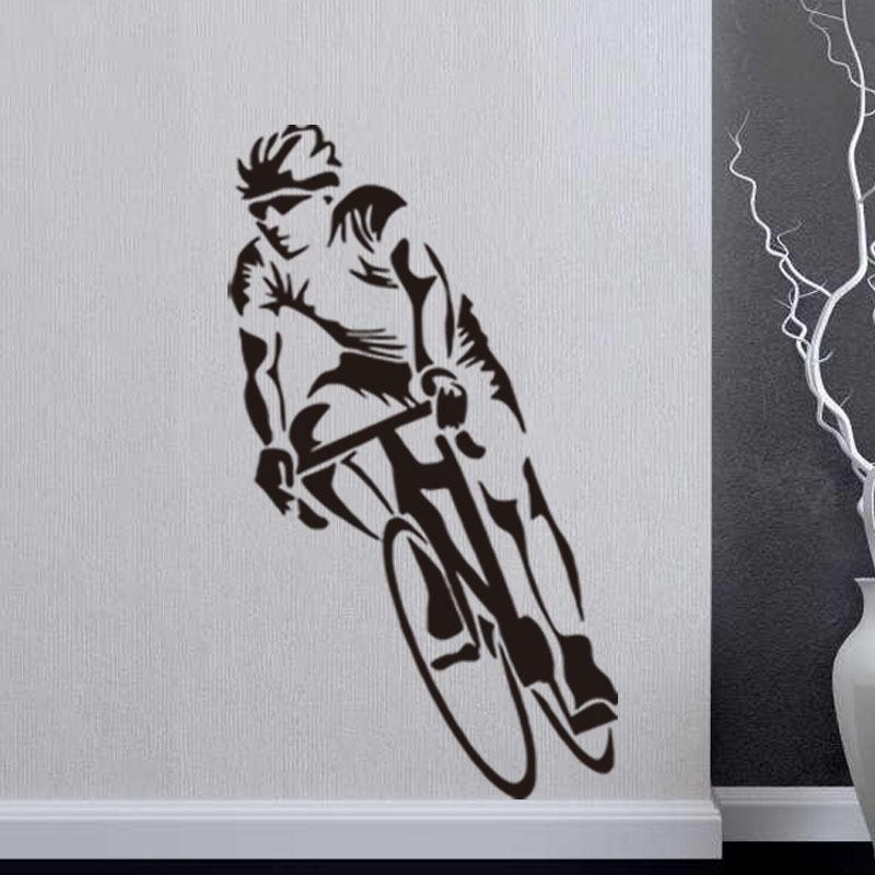 Favorite Cycling Sport Cyclist Wall Stickers Home Decor Art Murals Bedroom Inside Cycling Wall Art (View 8 of 15)