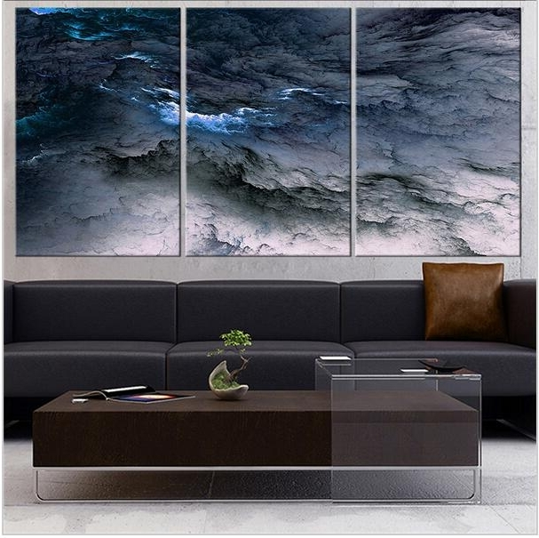 Favorite Dark Blue Abstract Wall Art Inside Fineart Collection Dark Blue Abstract Wall Painting For Home Decor (View 2 of 15)