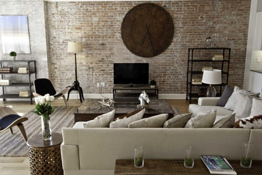 Favorite Diy Family Room Wall Art Ideas With Brick Wall And Rustic Wall Clock Within Wall Art Decor For Family Room (View 3 of 15)