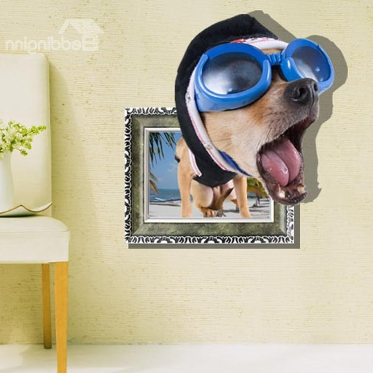 Favorite Dogs 3D Wall Art Inside Elegant Creative 3D Funny Dog Design Wall Sticker – Beddinginn (View 10 of 15)