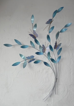 Favorite Duck Egg Blue Wall Art For Metal Wall Art Mazarine Blue Butterflies – The Sculpture Room (View 6 of 15)