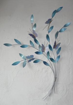 Favorite Duck Egg Blue Wall Art For Metal Wall Art  Mazarine Blue Butterflies – The Sculpture Room (View 10 of 15)