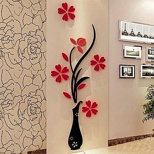 Favorite Floral & Plant Wall Art Within Sunweb 1 Pack 3D Diy Floral Wall Decor Stickers Wall Art Home Living (View 7 of 15)