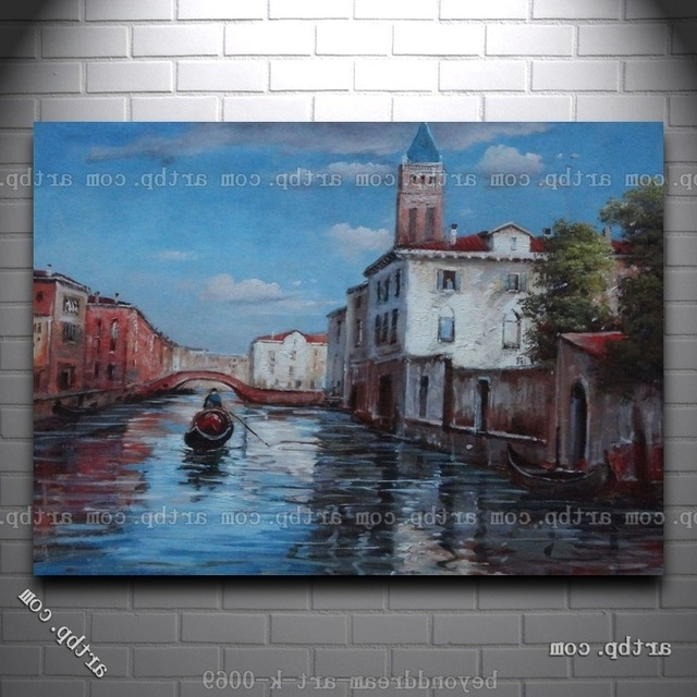Favorite Italian Venice Water Street Scene Oil Painting Classic Canal Canvas For Street Scene Wall Art (View 14 of 15)