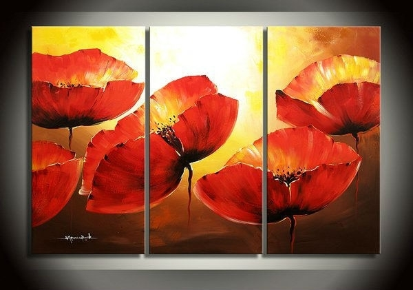 Favorite Large Red Poppy Flower 3 Piece Canvas Wall Art Abstract Oil In Red Poppy Canvas Wall Art (View 4 of 15)