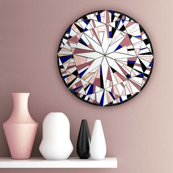 Favorite Large Round Wall Art Within Pink Wall Decor, Large Mosaic Art, Modern Pink Decor, Round Wall Art (View 7 of 15)