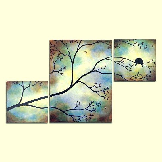 Favorite Large Triptych Wall Art Intended For Large Triptych Wall Art Birds Bees In Tree Branch Large Wall Art X (View 5 of 15)