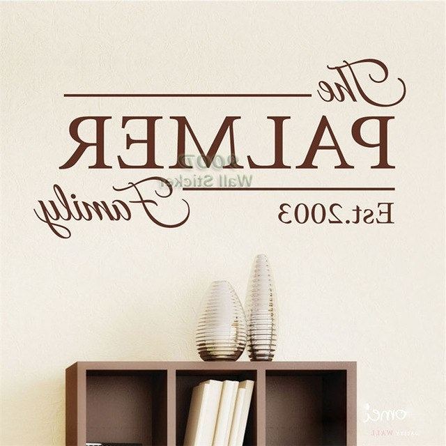 Favorite Last Name Wall Art For Personalized Family Name Wall Sticker, Home Decoration Quote Wall (View 5 of 15)