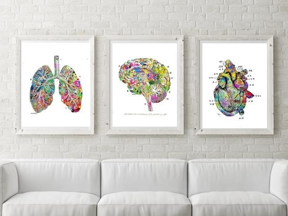 Favorite Lung Brain Heart Printable Watercolor Medical Art Printable Doctor Pertaining To Medical Wall Art (View 8 of 15)