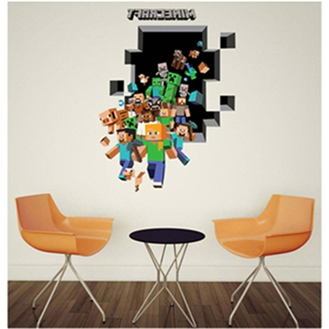 Favorite Minecraft 3D Wall Art Within 3D Minecraft Wall Stickers For Kids Room Wallpaper Home Decoration (View 4 of 15)