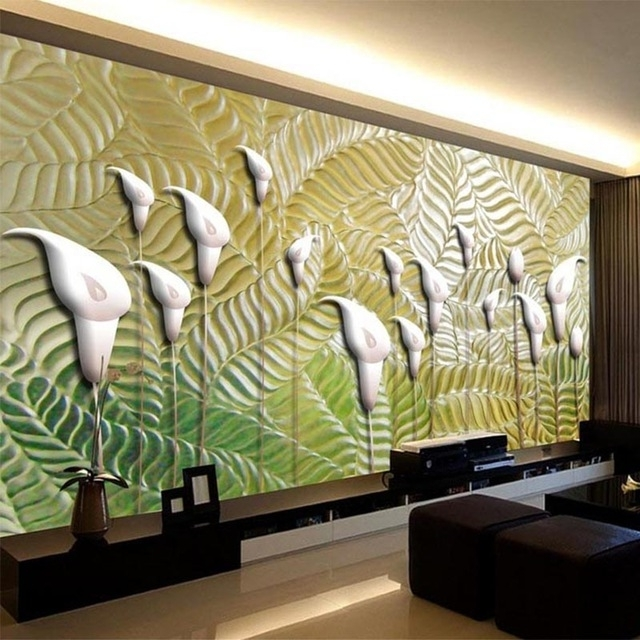 Favorite Modern Abstract Art Wallpaper 3D Embossed Flowers Photo Wall Murals Inside Abstract Art Wall Murals (View 10 of 15)