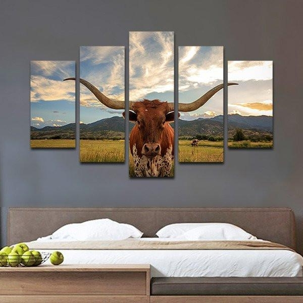 Favorite Multiple Panel Wall Art In Longhorn Multi Panel Canvas Beautiful Multi Panel Wall Art – Wall (View 6 of 15)