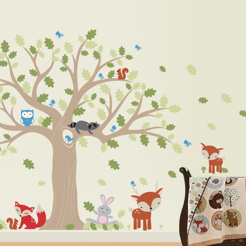 Favorite Oak Tree Wall Art Within Woodland Nursery Wall Decal With Forest Friends And Large Oak Tree (View 3 of 15)