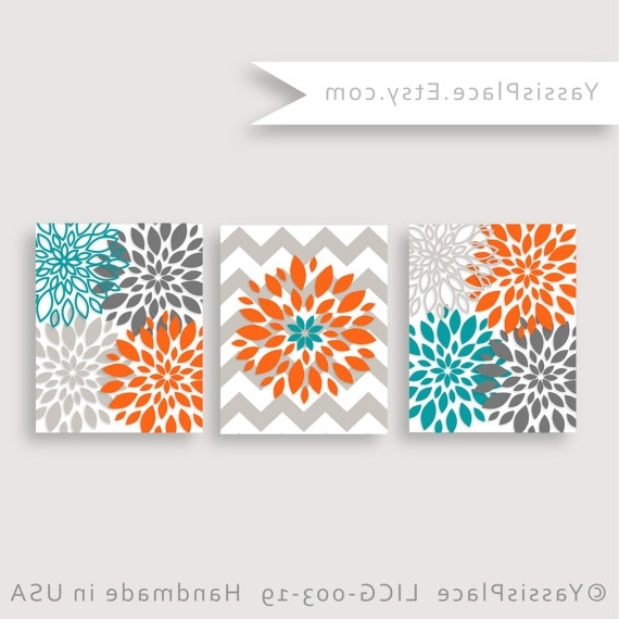 Favorite Orange And Turquoise Wall Art Regarding Floral Decor Turquoise Orange Gray Flower Burst Flower Wall Art (View 4 of 15)
