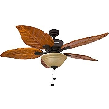 Favorite Outdoor Ceiling Fans With Leaf Blades With Regard To Leaf Ceiling Fan New Amazon Com Honeywell Sabal Palm 52 Inch (View 6 of 15)