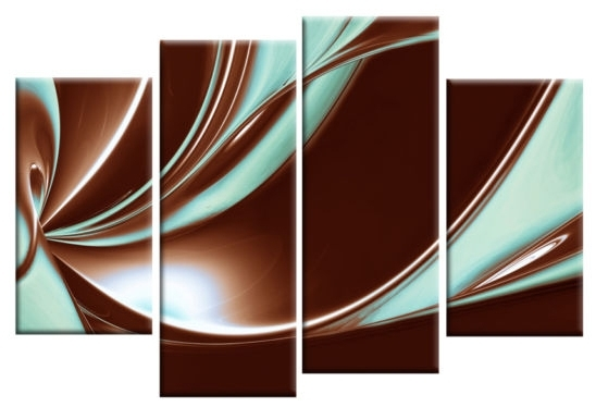 Favorite Peace In Brown And Duck Egg Blue Large Canvas Abstract 4 Panel Wall With Blue And Brown Abstract Wall Art (View 7 of 15)