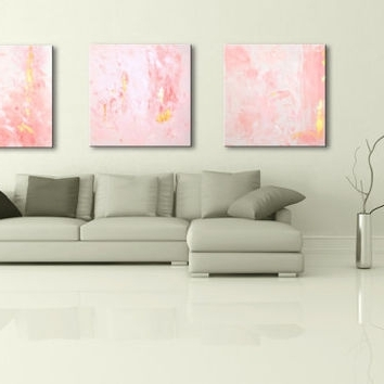 "Favorite Pink Abstract Wall Art In 36"" Pink Light Blue Gray Brown Black From Editvorosart (View 4 of 15)"