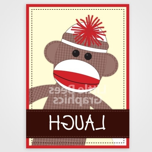 Favorite Set Of 4 Silly Sock Monkey Nursery Art Wall Decor — 8X10 Prints Pertaining To Sock Monkey Wall Art (View 5 of 15)