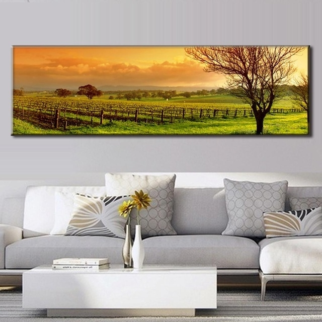 Favorite Super Large Single Picture Landscape Vineyard Canvas Printed In Vineyard Wall Art (View 4 of 15)