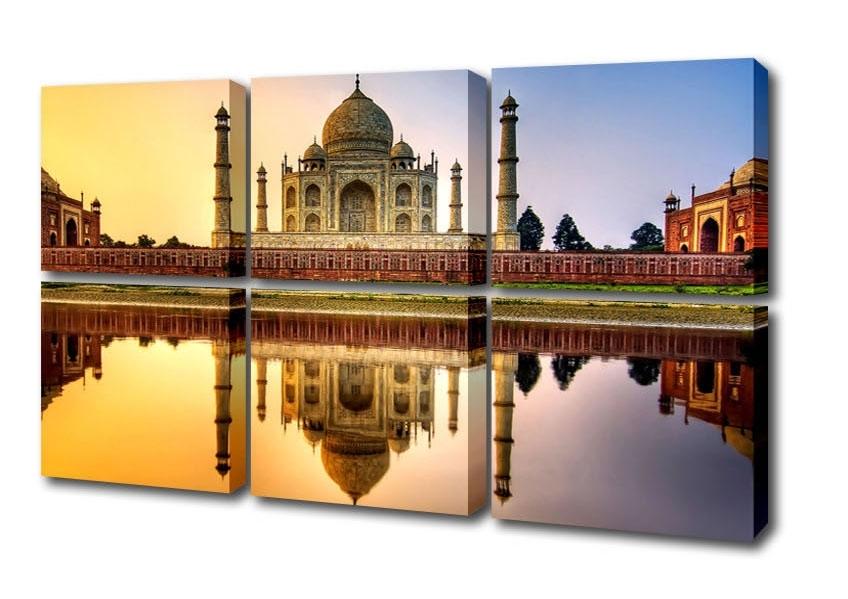 Favorite Taj Mahal India Hdr Architecture 6 Panel Canvas 6 Panel Set Canvas In Taj Mahal Wall Art (View 14 of 15)