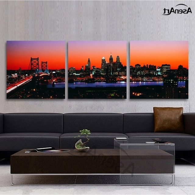 Favorite Three Panel Wall Art Inside 3 Panel Wall Art Canvas Prints Philadelphia Skyline With Franklin (View 5 of 15)