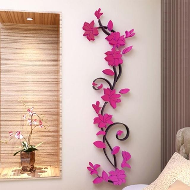 Favorite Vinyl Tree Of Life 3D Flower Wall Sticker Art Mural Home Decor Vase Within 3D Flower Wall Art (View 9 of 15)