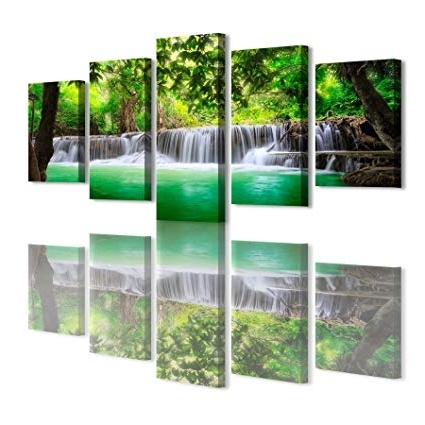 Favorite Waterfall Wall Art With Amazon: Haichuang Decor Art 5 Panels Framed Waterfall Canvas (View 7 of 15)