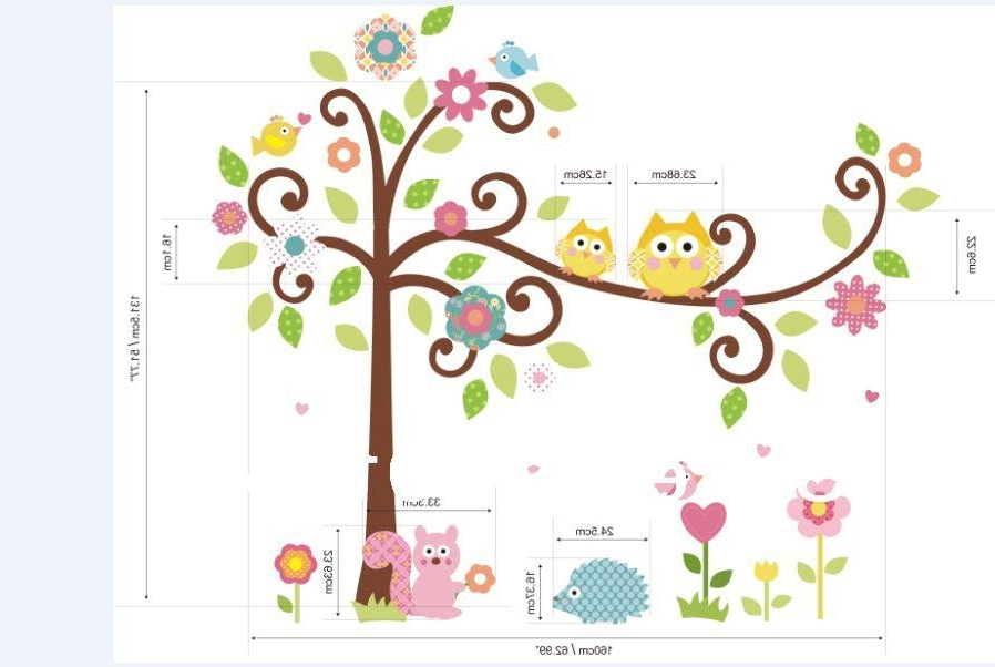 Favorite Xxl Cute Owl Tree Peel & Stick Wall Decal Kindergarten 64''*58In Throughout Owl Wall Art Stickers (View 11 of 15)