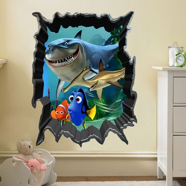 Finding Nemo Bruce Dory Fish 3D View Art Wall Stickers Decals Kids With Regard To Fashionable Fish 3D Wall Art (View 8 of 15)