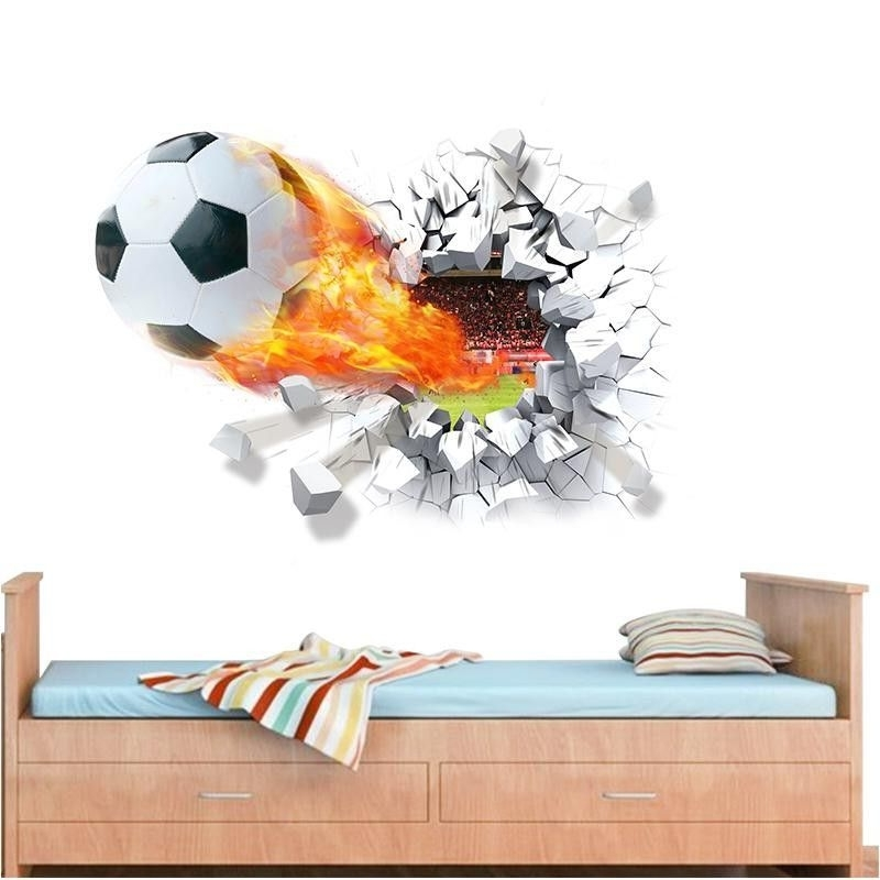 Firing Soccer Ball Through Wall Stickers Kids Room Decoration Home Throughout Most Popular Football 3D Wall Art (View 5 of 15)