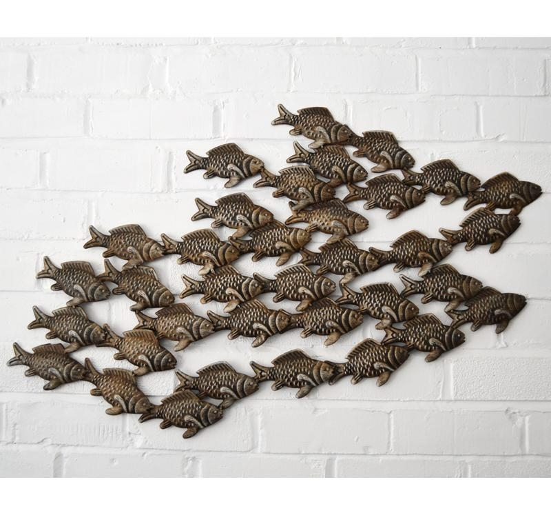 Fish 3D Wall Art For Most Popular Metal Wall Art – Shoal Of Fish – Coastalhome.co (View 9 of 15)