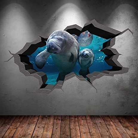 Fish 3D Wall Art With Most Popular Amazon: Underwater Cracked Cave Aquarium Fish 3D Wall Art (View 2 of 15)
