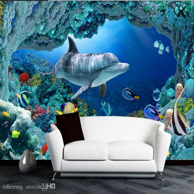 Fish 3D Wall Art Within Fashionable 3D Wall Mural Underwater World Cute Fish Dolphin Large Wallpaper Art (View 6 of 15)