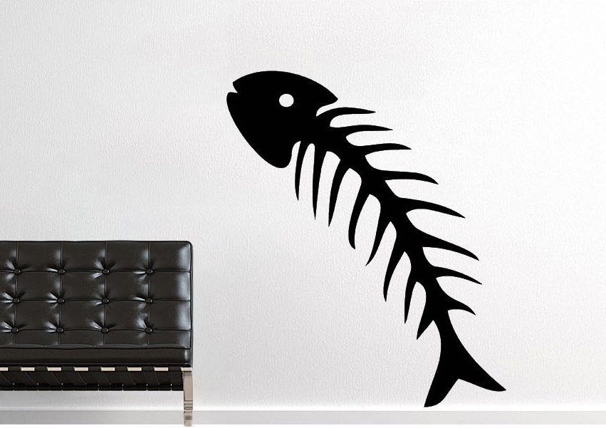 Fish Bone Wall Art Within Most Recently Released Fish Bone Wild Life Wall Stickers Adhesive Wall Sticker (View 7 of 15)