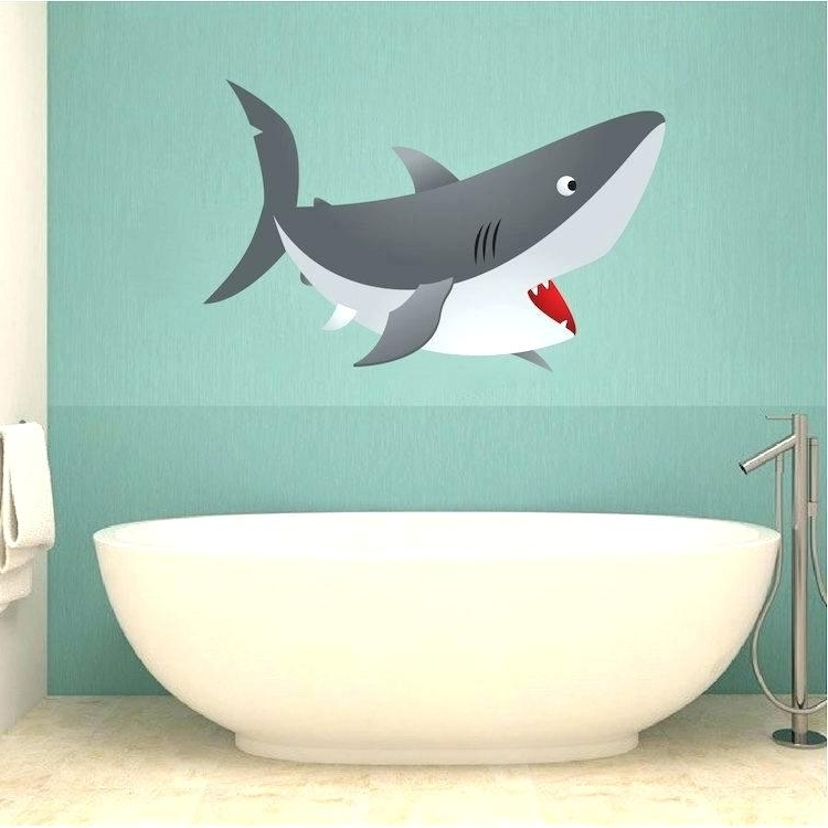 Fish Decals For Bathroom Pertaining To Fashionable Shark Wall Decals Large Shark Wall Decals – Sdfp (View 12 of 15)