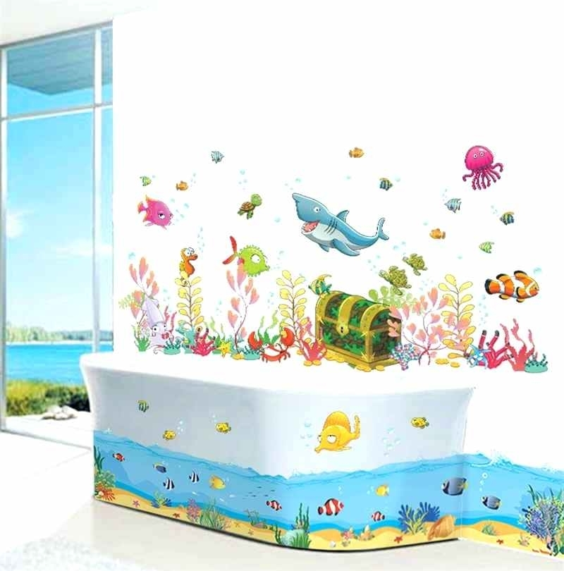 Fish Decals For Bathroom Within Best And Newest Kids Bathroom Decals Cartoon Underwater World Fish Shark Fish Wall (View 4 of 15)