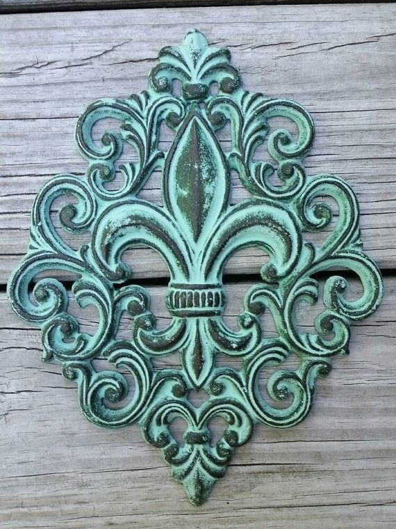 Fleur De Lis Metal Wall Art Inside Recent Cast Iron Fleur De Lis Wall Plaque – Cast Iron Wall Decor – Fleur De (View 6 of 15)