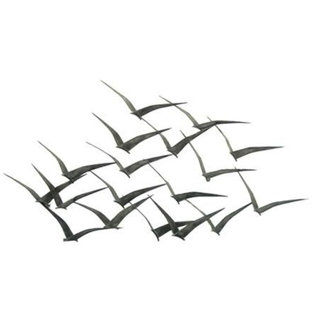 Flock Of Metal Flying Birds Wall Art (View 3 of 15)