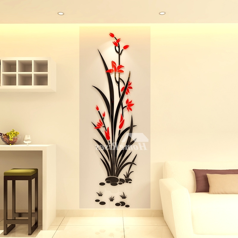Floral & Plant Wall Art With Most Popular Floral Wall Decals 3D Acrylic Decorative Living Room Personalised (View 15 of 15)