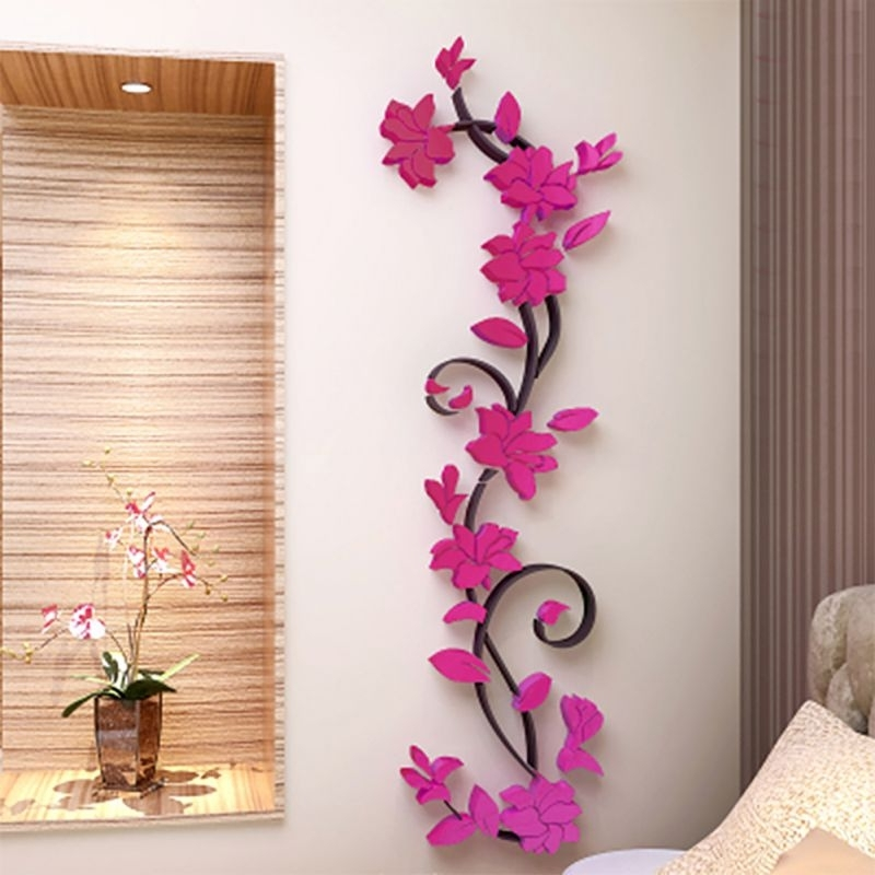 Floral & Plant Wall Art With Regard To Most Popular 3D Wall Decals & Stickers, Modern Wall Art Decor – Homerises (View 11 of 15)