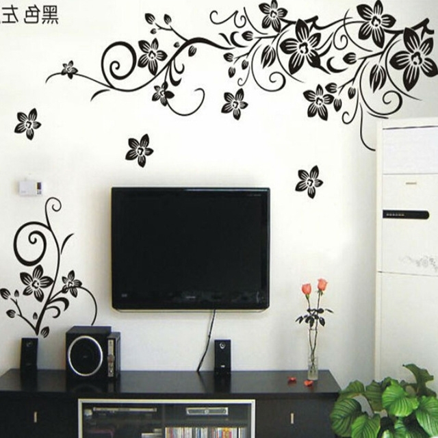 Floral & Plant Wall Art With Regard To Preferred Hot Vine Wall Stickers Flower Wall Decal Removable Art Pvc Home (View 4 of 15)
