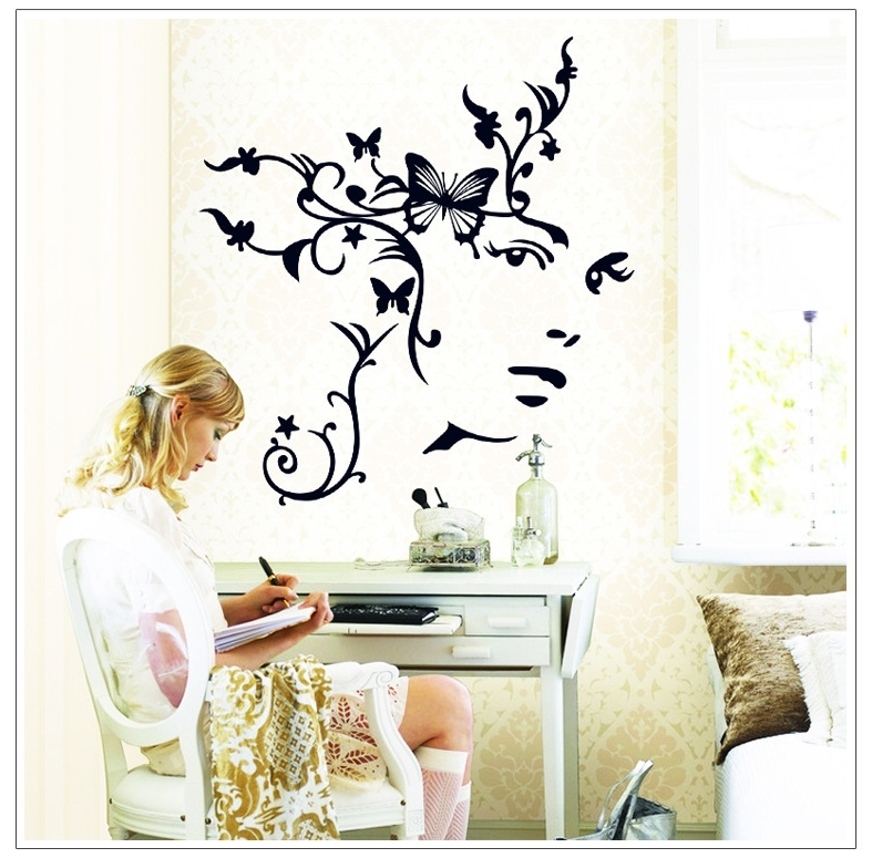 Flower Girl Butterfly Wall Sticker Abstract Face Art Wall Decal For Most Recent Abstract Art Wall Decal (View 8 of 15)