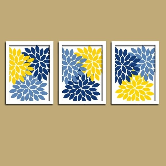 Flower Wall Art, Navy Blue Yellow Bedroom Canvas Or Print, Navy Intended For Most Current Yellow And Blue Wall Art (View 1 of 15)
