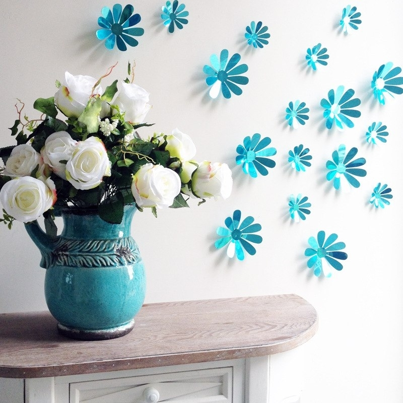 Flowers 3D Wall Art With Latest Aliexpress : Buy Sale 12Pcs Pvc Removable Mirror Flowers 3D Wall (View 6 of 15)