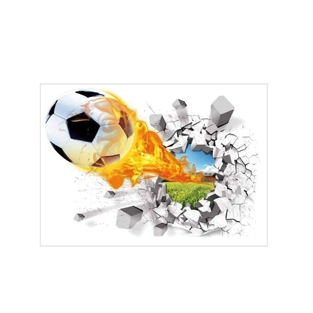 Football 3D Wall Art In 2018 Football 3D Wall Stickers Cracked Wall Effect Mural Decals Wall Art (View 6 of 15)