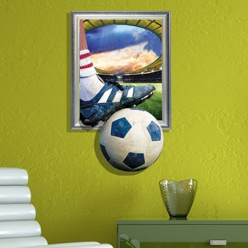 Football 3D Wall Art In Favorite Free Shipping The Football 3D Wall Mural Wall Art Decals Vinyl (View 9 of 15)