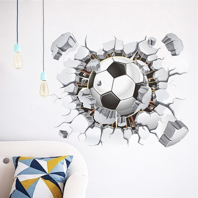 Football 3D Wall Art In Latest Broken Wall Football 3D Vivid Wall Stickers For Kids Rooms Home (View 8 of 15)