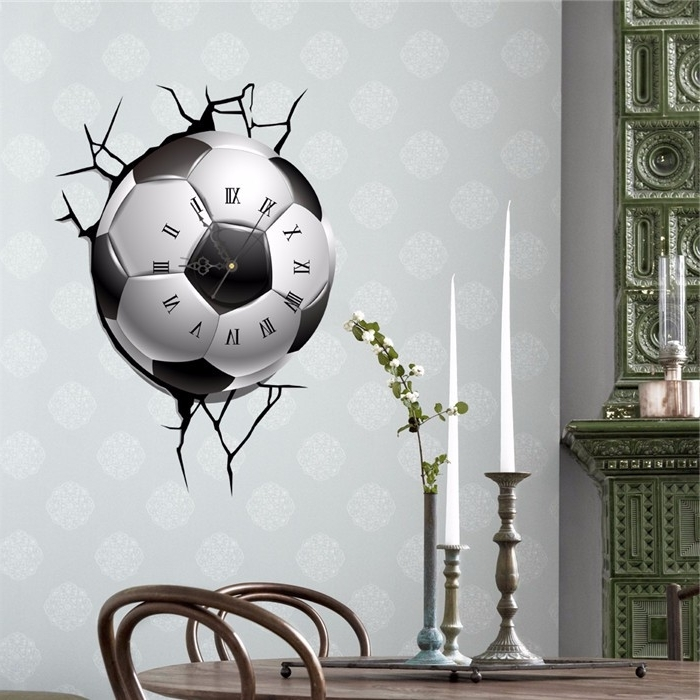 Football 3D Wall Art Inside Favorite Pag Sticker 3D Wall Clock Decals Soccer Football Cracking Wall (View 9 of 15)