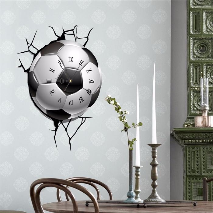 Football 3D Wall Art Inside Favorite Pag Sticker 3D Wall Clock Decals Soccer Football Cracking Wall (View 11 of 15)