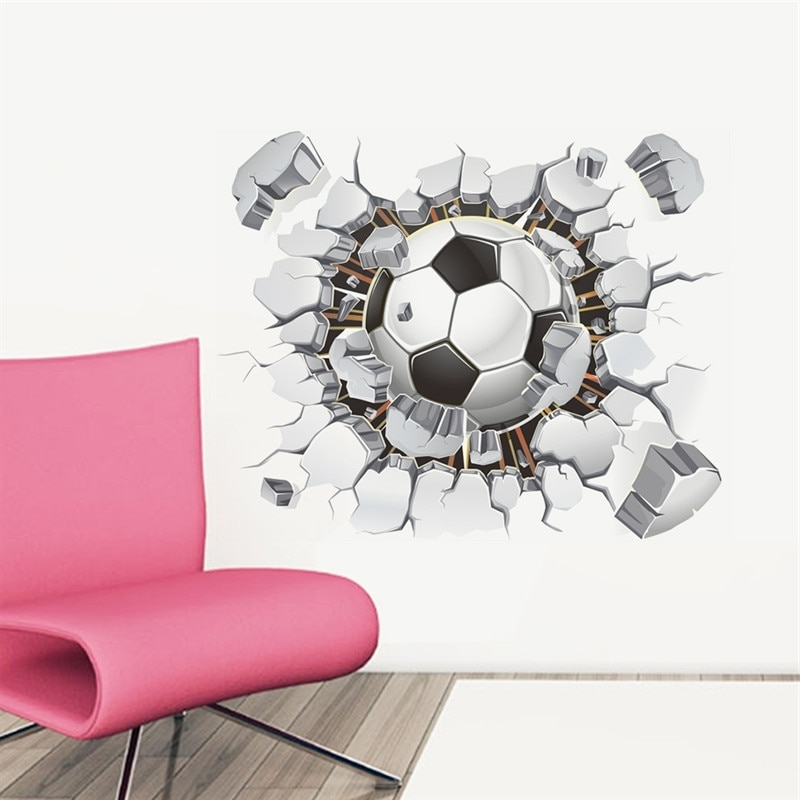Football 3D Wall Art With Regard To Widely Used Broken Wall Football 3D Vivid Wall Stickers For Kids Rooms Home (View 11 of 15)